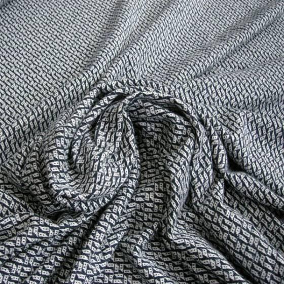 Jersey di cotone fantasia geometrica bianca - nero
