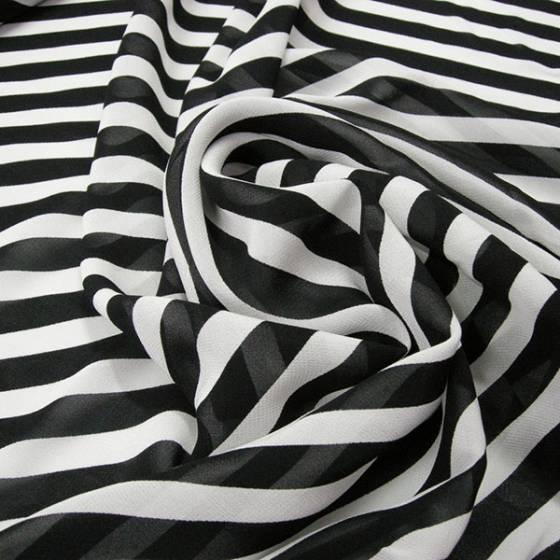 Tessuto voile classico a righe - bianco e nero