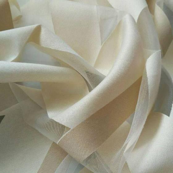 Tessuto tendaggio devorè geometrico - bianco/grigio/panna
