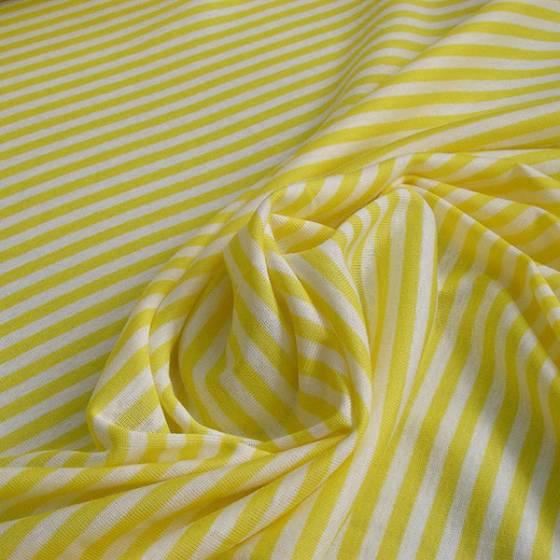 Maglina di cotone motivo a righe - bianco e giallo