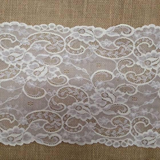 Balza in pizzo in rete con trama floreale - bianco