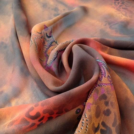 Tessuto seta motivo orientale e colori sfumati -  arancione e marrone