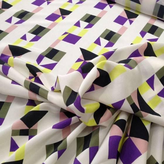 Tessuto seta con motivo geometrico multicolor - sfondo bianco