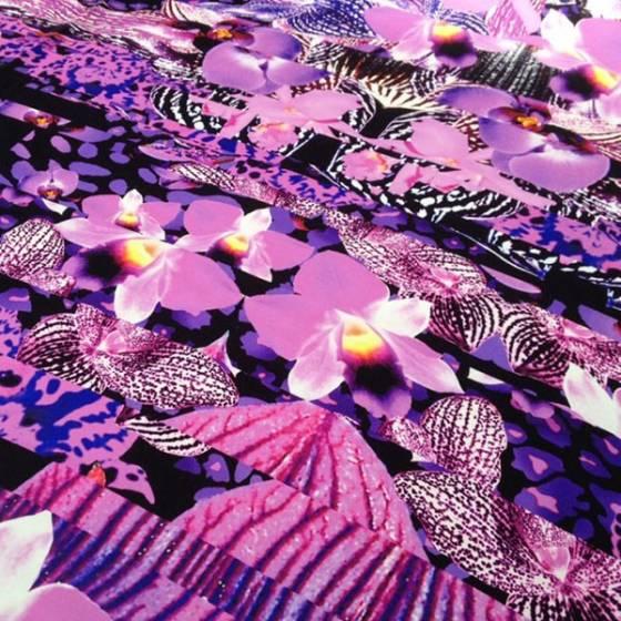 Tessuto raso di seta stampata floreale - viola