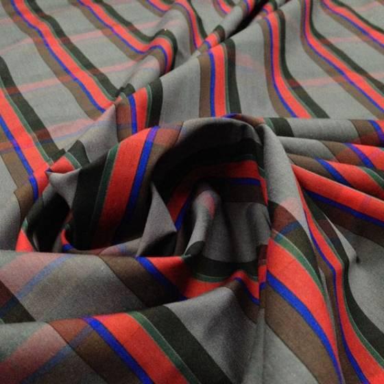 Tessuto in cotone elasticizzato motivo a righe e quadri grandi- multicolor
