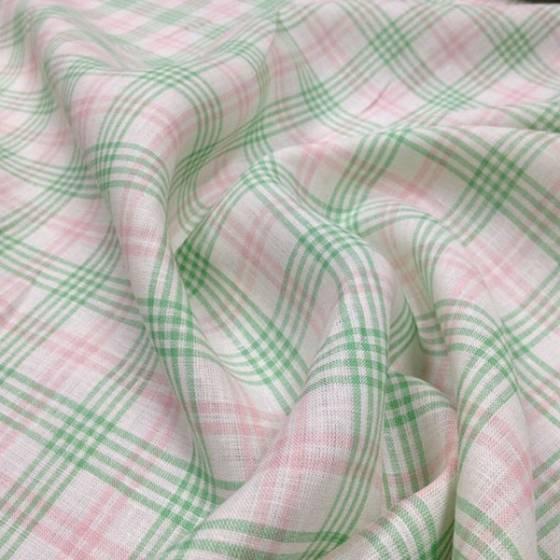 Tessuto in lino a righe e quadri verde e rosa - sfondo bianco