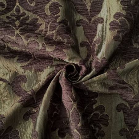 Tessuto per rivestimento motivo damascato - viola e bronzo