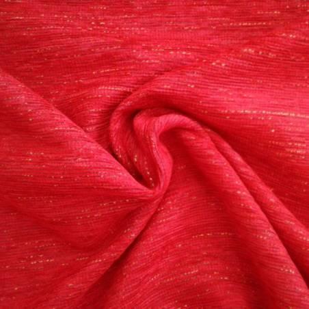 Tessuto per rivestimento in misto cotone cinigliato - rosso e oro