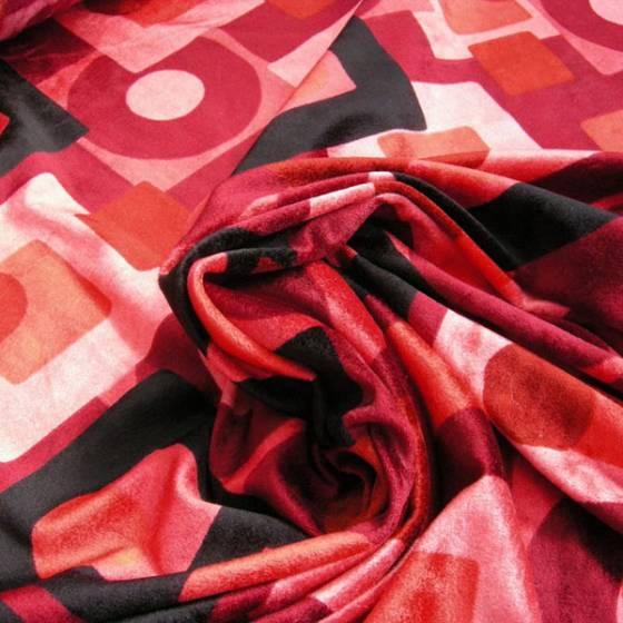 Tessuto in velluto motivo geometrico in sfumature - rosso e nero
