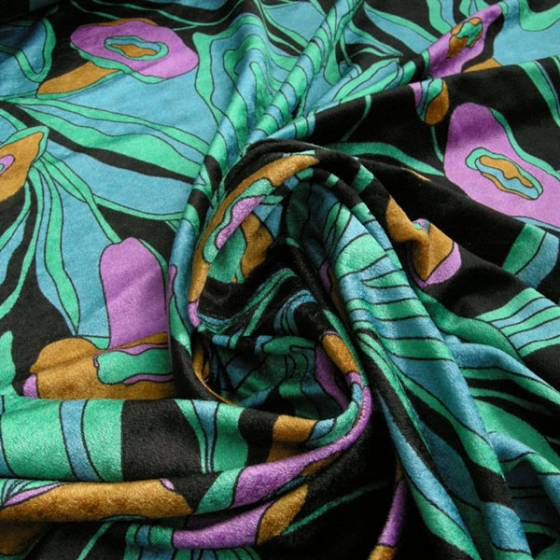 Tessuto in velluto con fantasia a fiori astratti  colorati - sfondo nero
