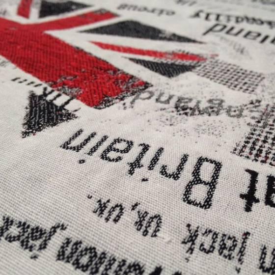 Tessuto per arredo e rivestimento a tema britannico - sfondo beige