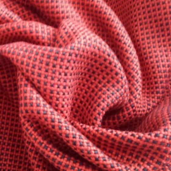 Tessuto per arredo e rivestimento a trama bicolore - rosso e nero