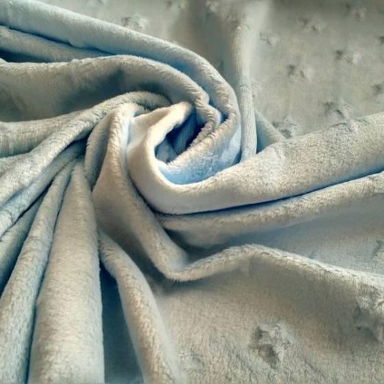 Tessuto minky con fantasia a stelle in rilievo - azzurro
