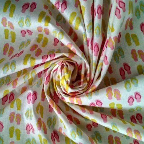 Tessuto per lenzuolato in cotone francese fantasia estate multicolor - fondo bianco