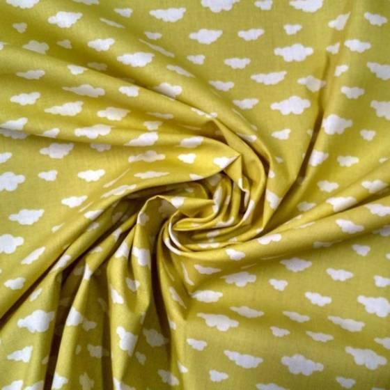 Tessuto in cotone francese fantasia nuvolette - giallo