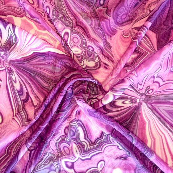 Tessuto abbigliamento fantasia astratta dai toni viola2