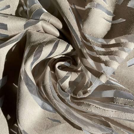 Tessuto tendaggio devorè disegno foglie astratto