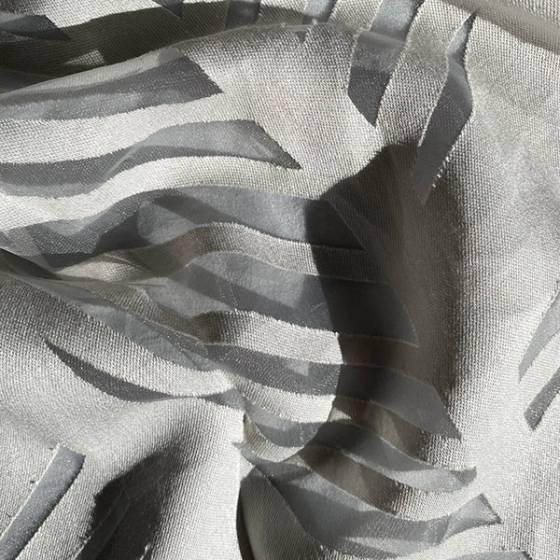 Tessuto tendaggio devorè disegno foglie astratto3