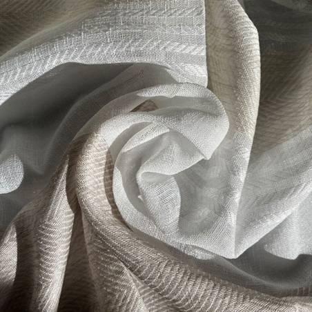 Tessuto per tendaggio a righe orizzontali ricamate