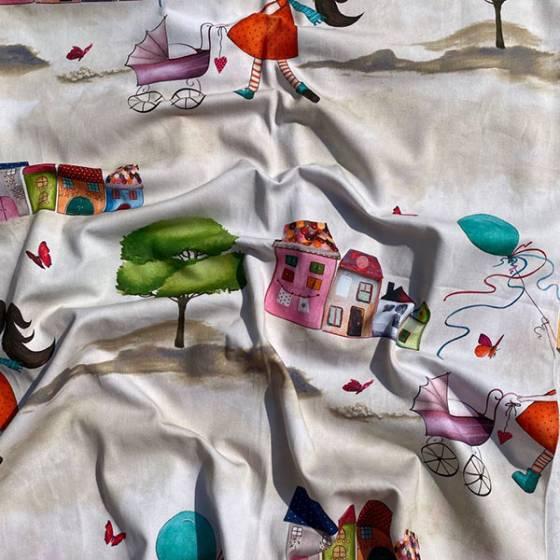 Tessuto per tendaggio con disegni fantasia per bambini