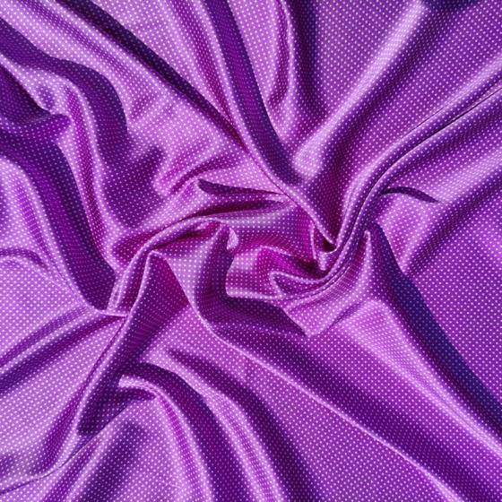 Tessuto in raso di seta per abbigliamento lucido viola a pois