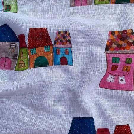 Tessuto per tendaggio fantasia casette per bambini 3