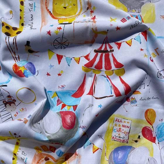 Tessuto per tendaggio fantasia animali al circo per bambini