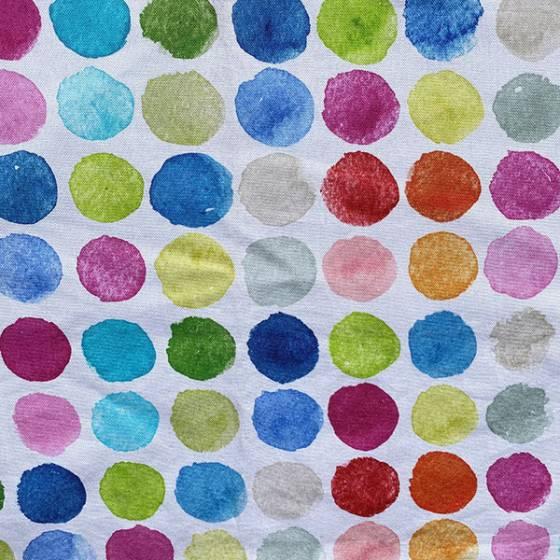 Tessuto per tendaggio a fantasia cerchi colorati in varie composizioni 1