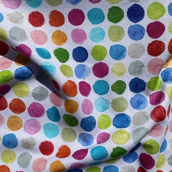 Tessuto per tendaggio a fantasia cerchi colorati in varie composizioni 3