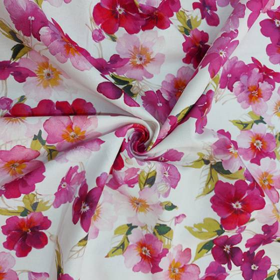 Tessuto tovagliato Bottaro fantasia floreale rosa
