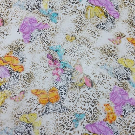 Tessuto voile di seta maculato con farfalle colorate