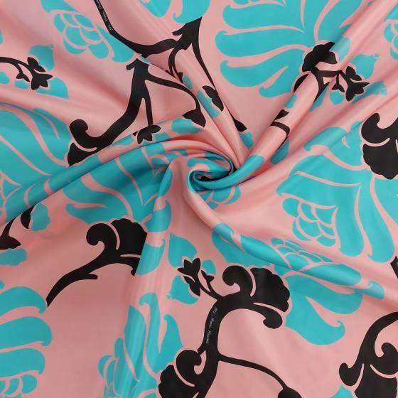 Tessuto seta rasatello leggero con stampa in stile hawaiano