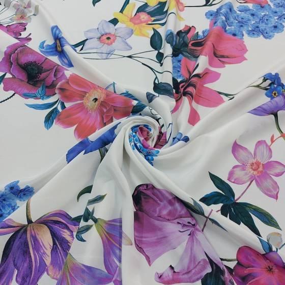 Tessuto abbigliamento in crepe di seta floreale