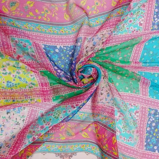 Tessuto abbigliamento voile di seta goffrata