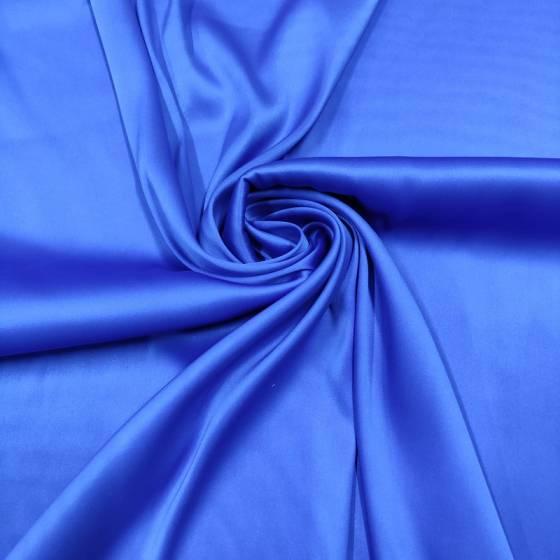 Raso di seta elasticizzato blu elettrico