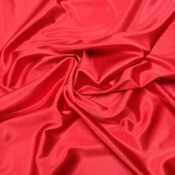 Raso di seta elasticizzato rosso ciliegia