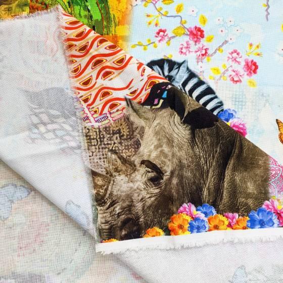 Tessuto arredo fantasia animalier multicolore 3