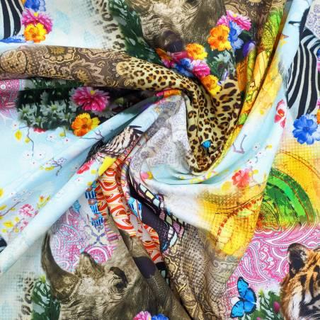 Tessuto arredo fantasia animalier multicolore 4