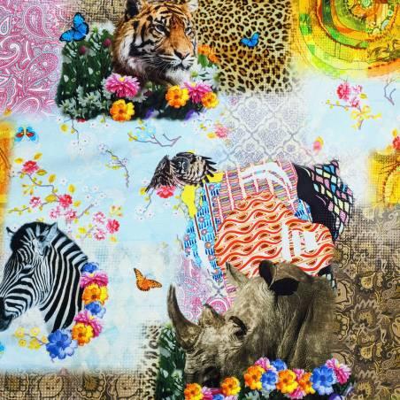 Tessuto arredo fantasia animalier multicolore 5
