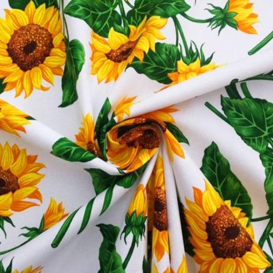 Tessuto in cotone Bottaro fantasia girasoli - sfondo bianco