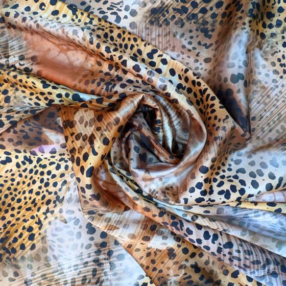 Raso di seta maculato multicolore